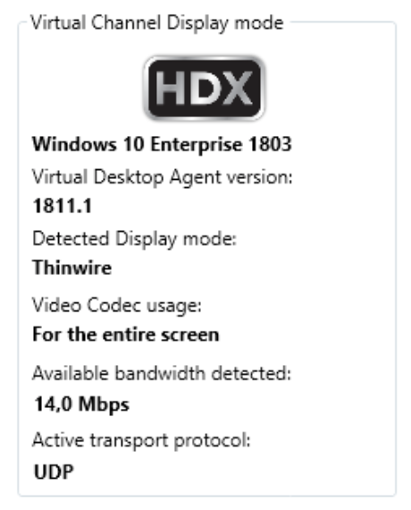 Preview RDanalyzer Detect Display mode for Citrix HDX