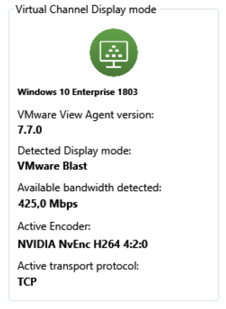 Preview RDanalyzer Detect Display mode for VMware